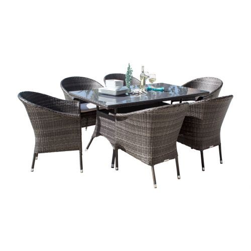 Ultra 7 PC Woven Armchair Dining Set with Cushions